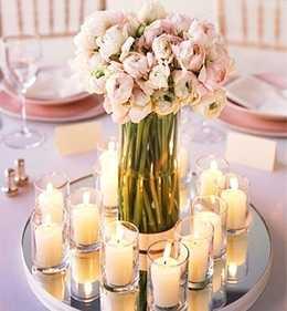 Centro de mesa espelho - mesa para Buffet , Vasos em Pedraria - vasos para casamento , Buffet e decoração